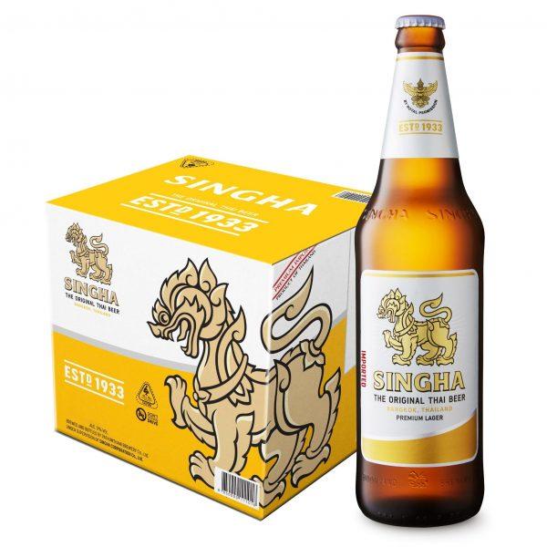SINGHA Premium Lager Beer 620ml x 12 Bottles